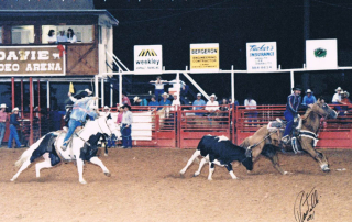 Ron Bergeron Roping with Freddy Gomez. Davie, 1991