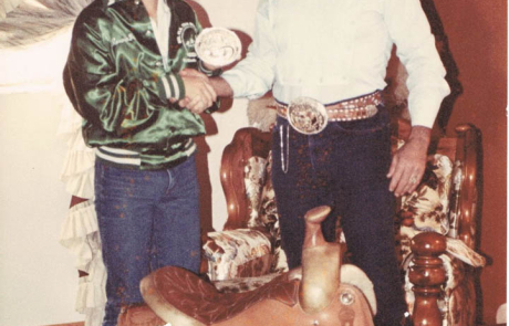 Ron Bergeron with son JR Bergeron 1983 Team Roping Champion