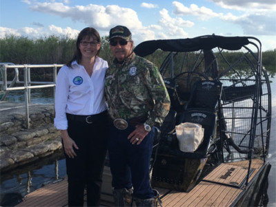 Image bergeron and ralston meet to discuss the ongoing need for Everglades restoration projects