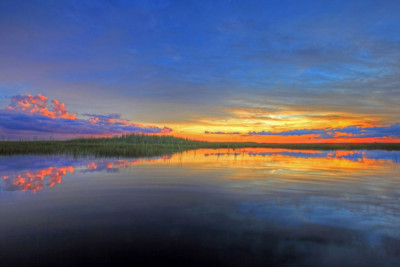 Colorful sunset at the everglades